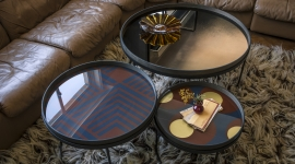 Bronze round mirror table tray