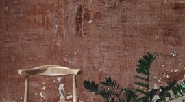 Red patina wall - Les Dominotiers