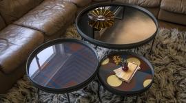Bronze round mirror table tray