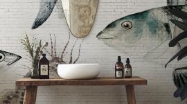 White brick wall Fish - Les Dominotiers
